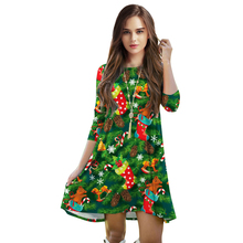 3D Christmas Tree 2016 Autumn New Design Hot Sale Three Quarter Sleeve Sexy Loose Dress Plus Size Casual Women Dresses Free Ship