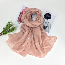 2017 Women Fashion Gold Foil Scarf Dragonfly Pattern Animal Scarf 10pcs/lot