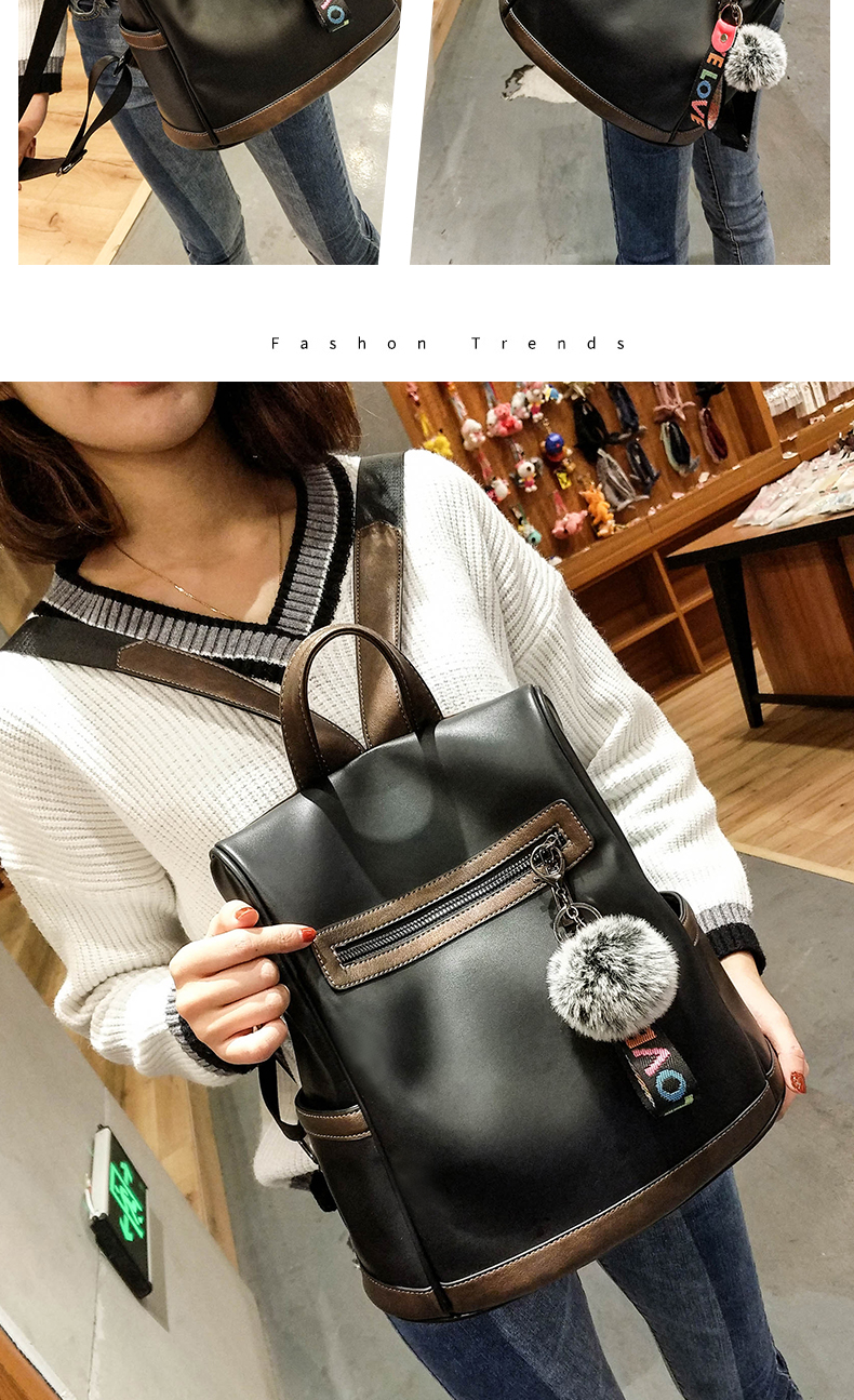 2018 New High-end Fashion Backpack Trend Simple Personality Fashion Campus Bag Large Capacity Bag Soft Leather Travel Backpack 43 Online shopping Bangladesh