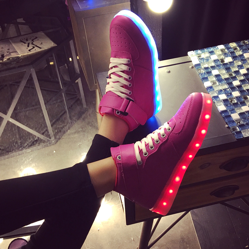 Unisex Led Shoes For Sale 2017 Autumn Fashion Luminous Breathable Usb Glowing Shoe High Top Solid Casual Zapatillas Led Hombre<br><br>Aliexpress