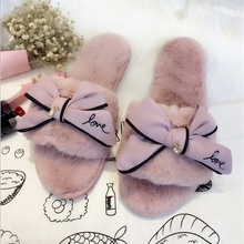 famous brand fur flip flops sweet lace bow fur slides women designer winter sandals warm and cozy home slippers with flower(China)