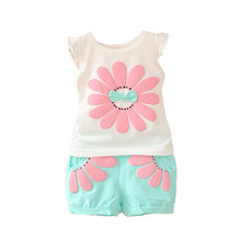 BibiCola fashion toddler baby girls summer clothing sets bow sunflower girls summer clothes set kids casual sport suit set