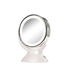 2017 hot sales Portable Home 5 times to enlarge beauty makeup desk mirror, 360 degree heart of the rotating LED beauty mirror