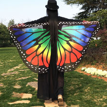 Wholesale 13 Colors Women Scarf Pashmina Butterfly Wing Cape Peacock Shawl Wrap Gifts Cute Novelty Print Scarves Pashminas(China)