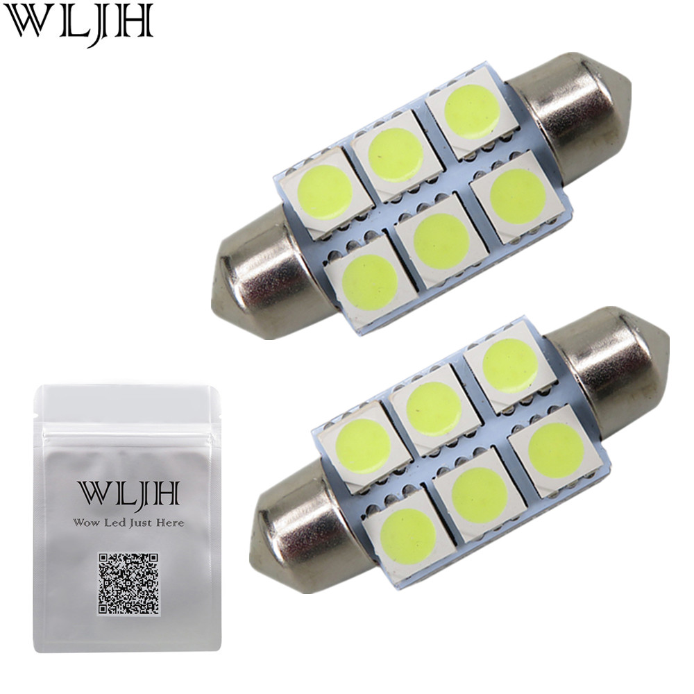WLJH 10pcs White 36mm Festoon 5050 SMD 6 LED C5W Car Led Auto Interior Dome Door Light Lamp Bulb Pathway lighting 12V Work Lamp(China)