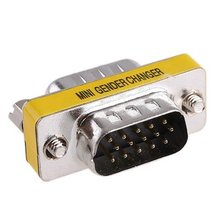 10pcs/lot 15-Pin HD15 VGA/SVGA M-M Mini Gender Changer(China)