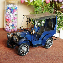 Metal Antique Painting Vehicle Desktop Models Three-color Old Car Collection Furnishings Articles Children Study Home Decoration