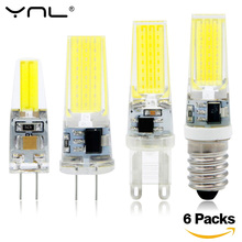 6pcs G4 G9 E14 LED Lamp 220V AC DC 12V COB bombillas LED Bulb Lampada LED G9 G4 COB Lights Replace 30W Halogen Spotlight