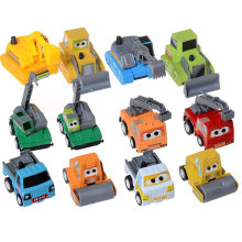 SET of 12 pcs Cute Engineering Pull Back Toy Pixar Cars Figure Truck Bulldozer Excavator Road Roller Digger Ladder (12 Pieces)