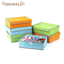 DINIWELL Foldable Colorful Bamboo Nonwoven Storage Box For Underwear Socks Tie Bra Closet Drawer Divider Organizer Box Container