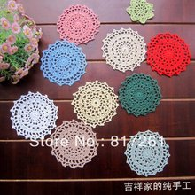 2015 new arrival fashion  30pic/lot ace flowers crochet coasters cotton felt as innovative item for home decor for wedding decor