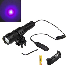 WF-502B UV Violet LED Tactical Flashlight Torch Hunting Lamp+Pressure Switch+ 25mm Mount Gun+3600mAh 18650 Battery+Charger(China)