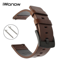 22mm Italian Oily Leather Watchband Quick Release for Samsung Gear S3 Classic Frontier Gear 2 Neo Live Watch Band Wrist Strap(China)