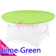 Lime green color wedding spandex table cloth lycra top cover for round tables decoration decor hotel banquet party wholesale