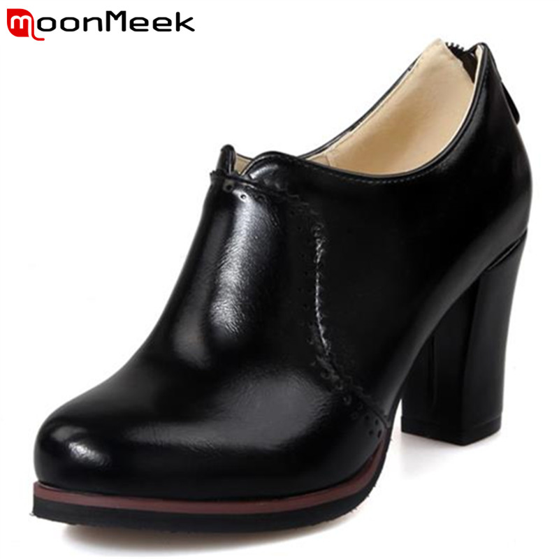 MoonMeek High quality neutral cow muscle noble simple zip ankle boots manual platform fashion spring autumn women boots<br>