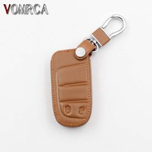 100% Leather Car Key Cover for Jeep Grand Cherokee Dodge JCUV Dart Tour Chrysler 300C Fiat, 2 Button Smart Car Accessories