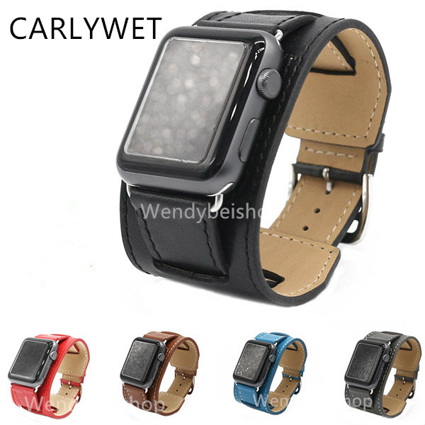 CARLYWET Real Calf Leather Replacement Watch Band Strap Loop Double Tour with Adapter For Apple Watch Iwatch 38mm 42mm <br><br>Aliexpress
