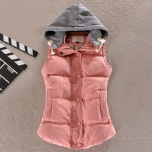 2017 autumn and winter new women's wild was thin candy color female hooded cotton vest chalecos mujer vest women  A617