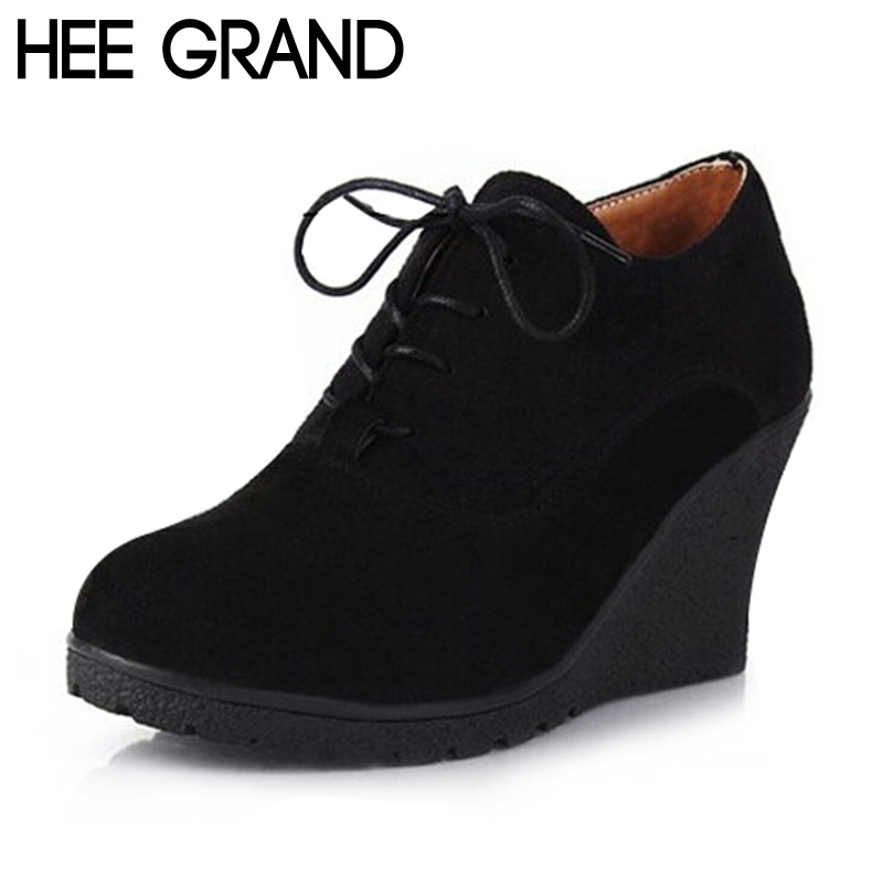 HEE GRAND Solid Women Flat Platform Anti-Slippy Wedge Shoes Woman Flock England Style Autumn Lace up Riding Single Shoes XWX4650<br><br>Aliexpress