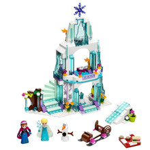 2017 New Fashion Girl Series Frozen Elsa Sparkling Ice Castle Model Anna Elsa Queen Kristoff Olaf Building Blocks Toys Juguetes