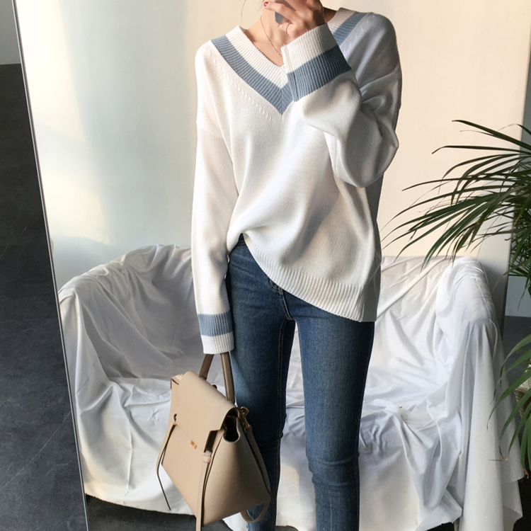 Colorfaith New 19 Autumn Winter Women's Sweaters Black White Pullover Korean Style Minimalist Casual Office Lady SW8853 5
