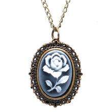 Antique Bronze Pocket Watch 3D White Rose Carving Slim Necklace Elegant Mini Clock Graceful Gifts for Ladies Girls montres femme(China)