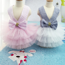 Cute Pet Dresses Dog Dress Pet Cat Clothing Puppy Tutu Shirt Spring Dress Puppy Skirt Summer Bowknot Clothing Free Shipping 09