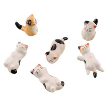 6 pcs/lot Japanese Ceramic Cat Shaped Rest Fork Holders Cutlery Stand Holder New Ceramic Props Cat