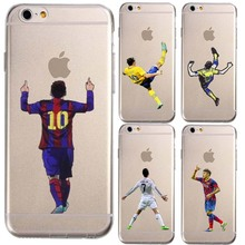 Transparent Football Stars cristiano Ronaldo messi For IPhone 5 5S SE 6 6S Plus 7 Phone Case Ultra slim silicone Tpu Phone Cover
