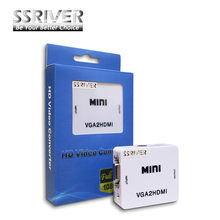 SSRIVER Wholesale MINI 1080 P VGA to HDMI Adapter  VGA2HDMI  Converter Connector with Audio for PC Laptop to HDTV Projector