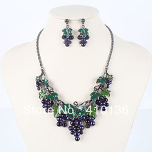MS17206 Classic Grape Necklace Set High Quality Jewelry Sets Gunmetal Plated Sweet Fruit New Arrival Party Gifts Free Shipping