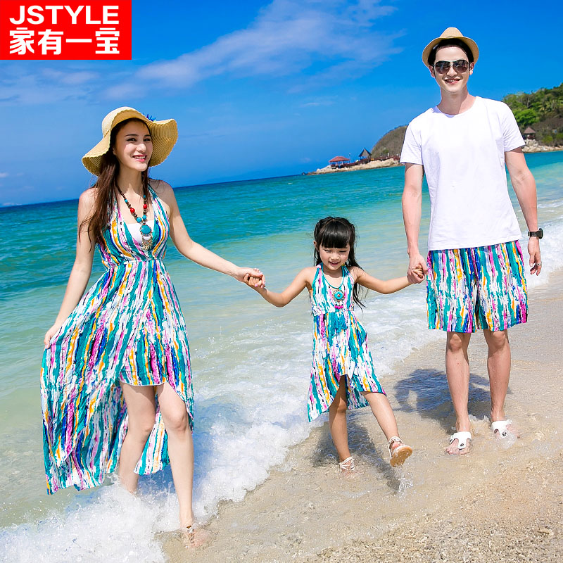 Matching Father Mother Baby Clothing Daughter Mother Colorful Maxi Dress Father Son Beach Shorts T-shirt Family Matching Clothes<br>