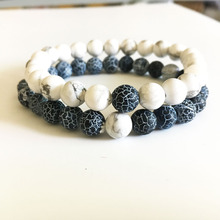 2 pcs Lover Bracelets Men Natural Stone Beads Jewelry Stretch Energy Yoga Gift White and Black Lover Gift