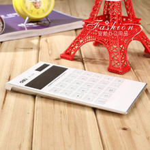 1pcs for Deli Solar Calculator student business calculate Fashion Ultra thin Calculator Solar energy Pocket mini Calculator