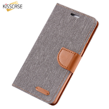 KISSCASE Book Flip Cloth Skin Phone Case For Samsung Galaxy S8 Plus S7 S7 Edge S6 Edge S5 Note 5 Megnetic Wallet Card Slot Cover
