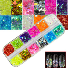 1 Set Nail Glitter 12 Candy Color Mixed Ice Mylar Shell Foils Nail Art Flakes Manicure Nails Tips Decorations 3D Designs CHBGZ