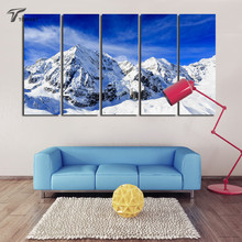 5 Panel Canvas Wall Art Blue Sky Snowy Mountain Canvas Prints The Paintings On The Wall Landscape Paintings New Home Decoration