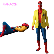 Spider-Man Homecoming Peter Benjamin Parker Yellow Jacket Uniform Coat Halloween Costume Spiderman Cosplay Spider man Blazer