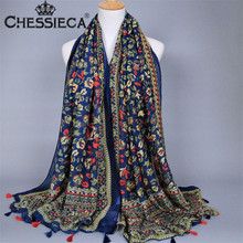 CHESSIECA Chinese Ethnic Style Floral Printed Scarves Women Black Yellow Colorful Tassels Long Soft Wrap Winter Charm Scarf