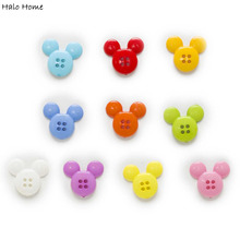 50pcs 4 Hole Cartoon M ickey Mouse Avatar Resin Buttons Clothing Home Decor Sewing Scrapbooking Card Making DIY 22x20mm