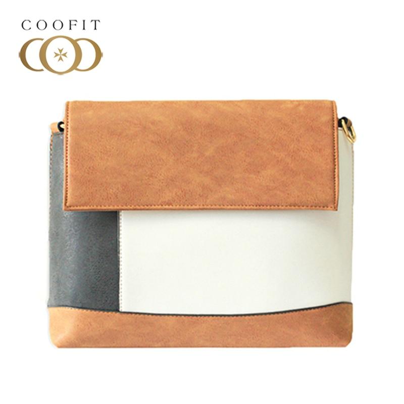 Coofit Preppy Style Messenger Bag Female Fashion Retro Mixed Colors Hangbag Womens Flap Cover Large Shoulder Bag Business Bags<br>