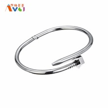 AMGJ Smooth Nail Bangle Bracelet titanium steel Jewelry For Men Unisex Bangle Open Close Style Punk Bracelet(China)