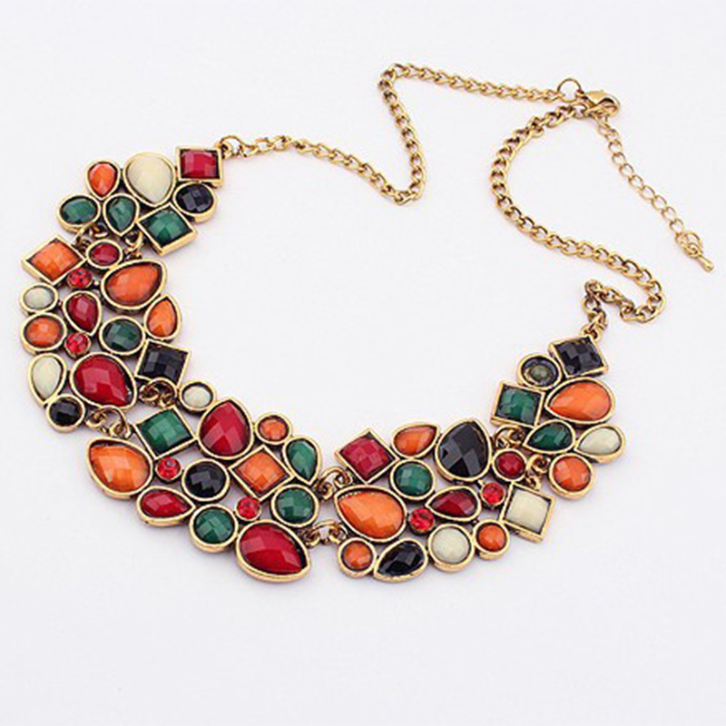 MINHIN New Popular Colors Multicolor Big Pendant Clavicle Chain Necklace Women's Delicate Banquet Jewelry 3