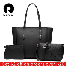 REALER brand women handbag 3 sets solid artificial leather tote bag large shoulder bags ladies purses and handbags(China)