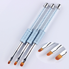 1 Pc UV Gel Painting Pen Drawing Brush Round Head Blue Rhinestone Handle Manicure Nail Art Tool