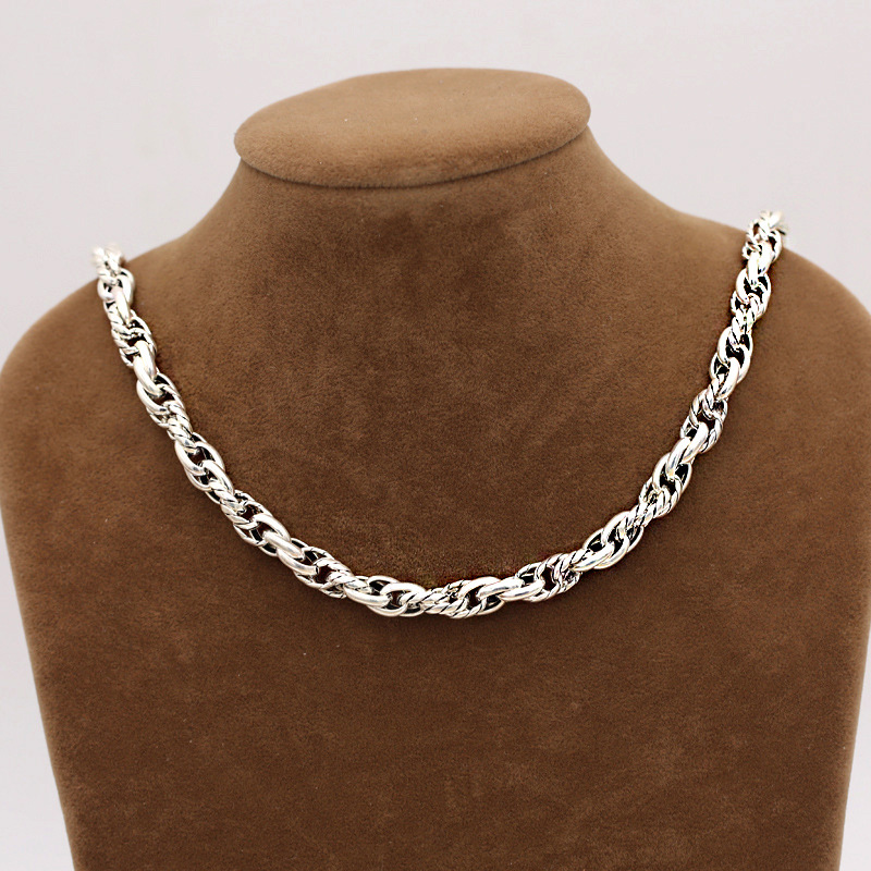 FNJ 8mm Rope Chain Necklaces 925 Silver 45cm to 60cm Fashion Original S925 Thai Silver Men Necklace Jewelry Weave