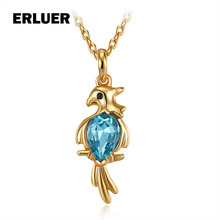 ERLUER Fashion Animal Necklace Blue Austria Crystal Gold Color Jewelry Women Girls Gifts Bird Charm Necklaces & Pendants Colar