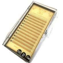 J&S 2trays/lot Natural 0.07 Thickness C D curl Faux Mink Hair Silk lashes Eyelash Extensions Pre made fans W 3D False Lashes