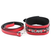 Buy Loverkiss Slave Adult Game Faux Leather Bondage collar,52*5.5cm neck collar 85cm Length Leash,Sexy Collar Flooger Sex Toy
