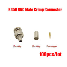 Free shipping 100PCS/Lot BNC male crimp plug for RG59 coaxial cable, RG59 BNC Connector  3-piece crimp connector plugs RG59